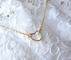 Tiny Gold Heart Ring Necklace - simple dainty everyday wear by Yameyu on Wanelo