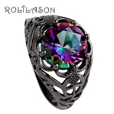 Handmade Mysterious Rainbow Mystic Zircon Silver Stamped AAA Ring for Women sz #6 #7#8 #9 JR2070 //Price: $12.80 & FREE Shipping //     #hairextension #style #beauty #woman #love