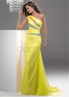 Eine Schulter Chiffon Perlen Schlüsselloch Ausschnitt paillettenbesetztes bodenlanges Abendkleider