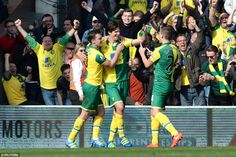 Timm Klose (centre), a January signing from Wolfsburg, is congratulated by team-matesJonny Howson and Ryan Bennett after scoring for Norwich against Newcastle in a 3-2 win.