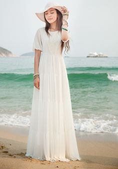 white beach dress | images of White Summer Dress Long Chiffon Dress for The Beach