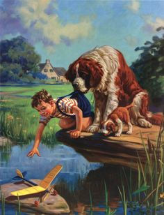 Vintage Illustration Helper Dog holding boy by the pants preventing him from falling in the river Pictures To Paint, Art Pictures, Painting Pictures, Photos, Images D'art, Norman Rockwell Art, Vintage Artwork, Vintage Pictures, Beautiful Paintings