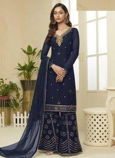 Purple Georgette Sangeet Party Palazzo Suit SFFZ87984 Sharara Suit, Salwar Suits, Black Salwar Kameez, Patiala Salwar, Eid Dresses, Pakistani Dresses, Costume Bleu Marine, Costume Noir, Eid Outfits