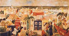 """Cícero Dias, """"Visão Romântica do Porto do Recife"""", 1930 ca., ol/cartão, Coleção Gilberto Chateaubriand, MAM, RJ Cultural, Art Museum, Painting, Rest, Posters, Design, Visual Arts, Art Production, City"""