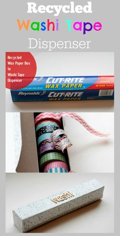 Use an empty tin foil or wax paper box as a Washi Tape dispenser. It has a roll and built in serrated cutting edge. I have a lot of Washi Tape. Diy Storage Boxes, Craft Room Storage, Paper Storage, Craft Organization, Storage Ideas, Organizing Tips, Washi Tape Cards, Washi Tape Diy, Diy Washi Tape Storage