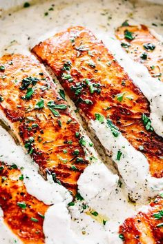 One skillet salmon dinner served with lemon garlic cream sauce.Quick enough for a weeknight dinner & so good its sure to become a favorite salmon recipe. The post Pan Seared Salmon with Lemon Garlic Cream Sauce appeared first on Recipes. Salmon Recipe Pan, Seared Salmon Recipes, Healthy Salmon Recipes, Easy Fish Recipes, Pan Seared Salmon, Lemon Recipes, Seafood Recipes, Cooking Recipes, Baked Salmon