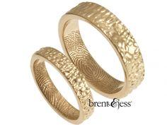 From www.brentjess.com - 14k Rose Gold Set of Gift from the Sea Fingerprint Wedding Bands - Custom handmade fingerprint jewelry by Brent&Jess