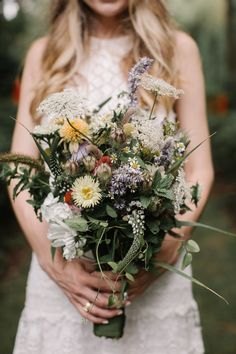 Natural wedding bouquet, boho bride, wildflowers, repin to your own bohemian wedding inspiration board // Vik Photography