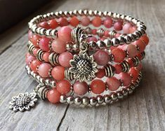 Summer Sunflower Pink Jade Multi Coil Memory Wire Wrap Bracelet