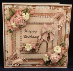 The Beautiful Pink Rose Shoe 8 X 8 boxed decoupaged card www.therhodaharveycollection.co.uk