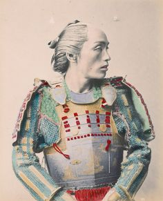 A Japanese samurai in colorful armor  byBaron Raimund Von Stillfried,circa 1865–1875
