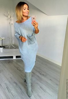 Вязаное платье с карманом – купить или заказать в интернет-магазине на Ярмарке Мастеров | Платье вязаное в стиле БОХО<br /> В НАЛИЧИИ.