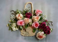 basket ribbon embroidery - Google Search