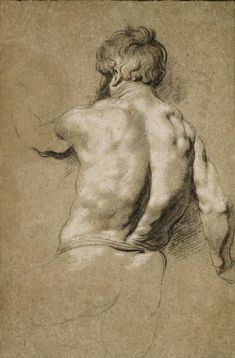 Jacob Jordaens (Antwerp , Study of a man seen from behind Human Figure Drawing, Figure Drawing Reference, Guy Drawing, Life Drawing, Drawing Sketches, Drawing Tips, Drawing Ideas, Trois Crayons, Peter Paul Rubens