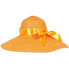 Orange Wide Brim Straw Floppy Sun Hat ($18) ❤ liked on Polyvore featuring accessories, hats, orange, orange hat, floppy straw hat, floppy hat, straw sunhat and sun hat