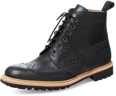 $234, Black Leather Brogue Boots: Loake Fisher Boot. Sold by Gilt. Click for more info: https://lookastic.com/men/shop_items/275782/redirect