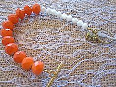Bauble Bracelet - Coral, White, & Gold - Elephant Charm - Toggle Clasp