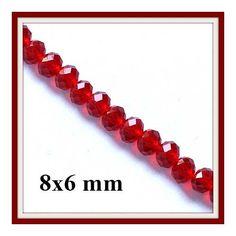 Csiszolt rondell abacus kristály gyöngy 8x6 mm 10 db Piros - * ÚJDONSÁGOK * - Csinálj Ékszert! webáruház