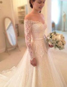 Custom IVORY or WHITE Vintage 50s Off Shoulder Long Sleeve Lace Wedding Dress
