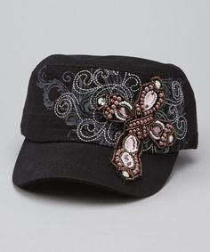 75cbc37a81c Black Beaded Cross Cadet Cap