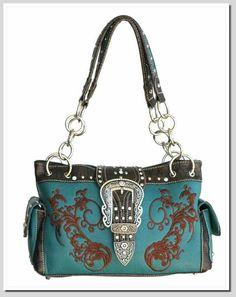 Montana West Handbag Chain Embroidery Turquoise
