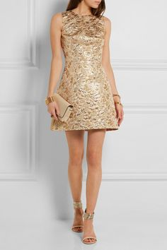 DOLCE & GABBANA - Metallic brocade mini dress - €1,450 ///  Blush, gold and silver brocade  Concealed hook and zip fastening at back  50% acrylic, 35% acetate, 15% lurex; lining: 94% silk, 6% elastane  Dry clean  Made in Italy