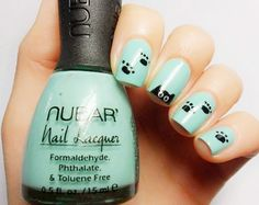 #cute #nails #art laura:love this color and the cute paw prints