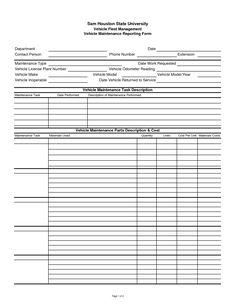 Vehicle Maintenance Log Sheet Template | Car Maintenance Tips ...