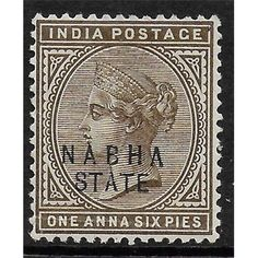 Nabha, Indian Convention State, Queen Victoria, 1 Anna 6 Pies, Postage Stamp 1885 MH