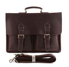 "Image of MEN'S Vintage Leather Briefcase / Messenger / 14"" Laptop 15"" MacBook Bag(RY02)"