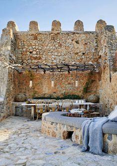 House in Deia, Mallorca. Outdoor Rooms, Outdoor Gardens, Outdoor Living, Outdoor Decor, Deia Mallorca, Adirondack Furniture, Outdoor Furniture, Mediterranean Design, Stone Houses