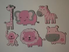 FREE SHIPPING ~ Jungle Cut Outs ~ Set of 6 ~ Lion, Zebra, Giraffe, Monkey, Elephant, Hippo, Baby Girl Baby Shower, Girls 1st Birthday Party