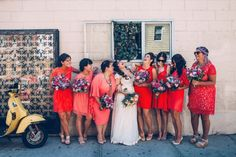Loving all of the bright colors in this bridal party | Photo by Kate Edwards Weddings