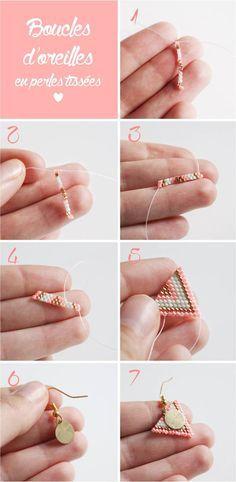 Boucles d oreilles en perles tissees etapes de realisation par Mes dernieres lubies