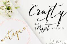 Crafty Script + Extra by mycandythemes on Creative Market beautiful hand design calligraphy modern font typeface wedding Calligraphy Fonts, Script Fonts, Typography Fonts, Typography Design, Hand Lettering, Handwritten Letters, Typeface Font, Wedding Logos, Wedding Invitations
