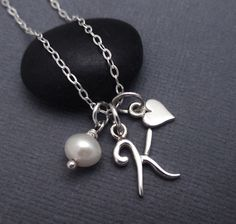 Initial K Charm Necklace Sterling Silver by themoonflowerstudio