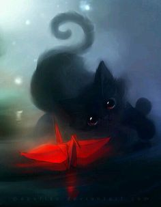 faithful mirror by Apofiss on deviantART Cute Animal Drawings, Cool Drawings, Cute Kittens, Cats And Kittens, Anime Animals, Cat Wallpaper, Warrior Cats, Cat Drawing, Beautiful Cats
