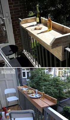 DIY Outdoor Furniture Projects For Your Backyard DIY Outdoor Furniture Projects For Your Backyard This DIY balcony bar is perfect for small outdoor s Diy Design, Patio Design, Home Design, Balcony Design, Interior Design, Creative Design, Design Trends, Design Ideas, Diy Outdoor Furniture