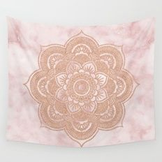 Wall Tapestry featuring Rose Gold Mandala - Pink Marble by Marbleco