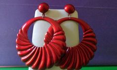 retro RED EARRINGS mint Large DANGLE Hoop by CopperJewelryMoreJag