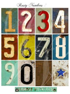 VINTAGE RUSTY NUMBERS 2 - Grungy Metal Numbers - Digital Download Industrial Look -Iron on Transfer,Print,Cards,Wall decor,Tags,T-shirts