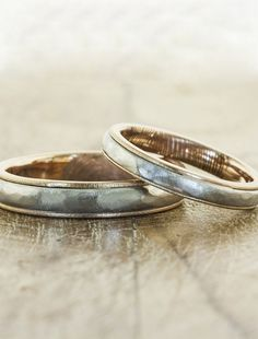 The Edo his & hers matching wedding bands: a combination of tradition and modern. Recycled rose gold and platinum, by Ken & Dana Design.