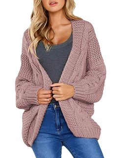 Juner Women Button Knitted Cardigan Sweater Casual Pullover Pocket Long Sleeve Sweatshirt Loose