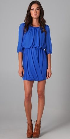 Tibi Draped Dress {I can't decide between the electric blue, warm sienna, or the pale rose!}
