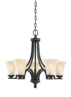 This Somerton chandelier from Sea Gull Lighting mixes modern and traditional lines in harmony to create the perfect coupling of transitional contemporary styling. Bold angles are balanced with flowing curves and a minimalist glass design. Offered in textured Blacksmith finish with Café Tint glass (shown) or Antique Brushed Nickel finish with Satin Etched glass.