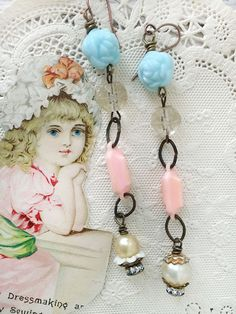 vintageINpinkassembled dangle earrings blue rose beads by Arey