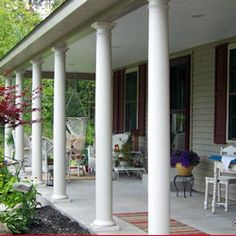 Front porch on pinterest porch columns front porch for Round porch columns