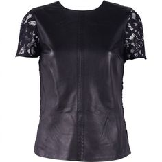 Pre-owned Trina Turk Leather T-Shirt ($150) ❤ liked on Polyvore featuring tops, t-shirts, black, women clothing tops, trina turk, leather tee, trina turk tops, leather top and leather t shirt