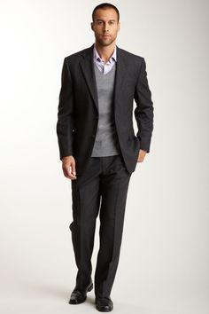 Joseph Abboud - Tailored Dark Gray Two Button Side Vent Suit