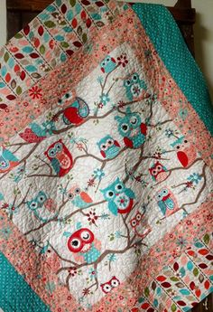 Baby Girl Quilt Modern Nested Owls on BranchesCoral by CoolSpool